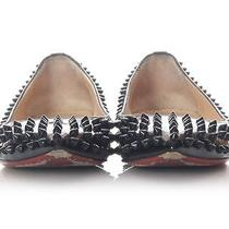 Christian Louboutin Black Pigalle Spiked Flats Size 40 9.5 Shoes - Retail 1095 Photo