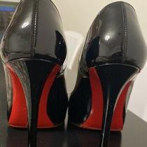 Christian Louboutin Black Pumps 37.5 Us 7 100mm Added Thin Red Rubber Sole Photo