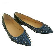 Christian Louboutin Blue Green Ombre Pigalle Spikes Scarabe Patent Flats (37.5) Photo