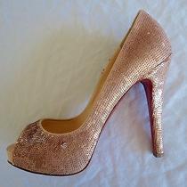 Christian Louboutin Blush Pink Sequin Platform Pumps / Heels (Exquisite)  38 Photo