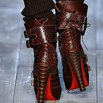 Christian Louboutin Celebrity Loubi Bike Python Boots 395 Us 8-85 Nib 2280 Photo