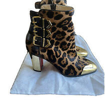 Christian Louboutin Chelita Pony Leopard Ankle Bootie Boots Size 38.5 Photo