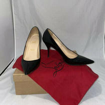 Christian Louboutin Decoltissimo 100 Pump Black Patent Leather Pointed Heel 38.5 Photo