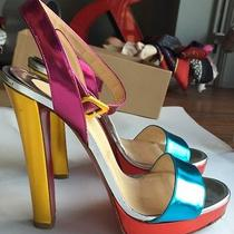 Christian Louboutin Echasse Mirrored Metallic Leather Sandals Heels  Photo