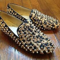 Christian Louboutin Gold Rolling Spikes Studded Leopard Pony Flats Loafers 37 7 Photo