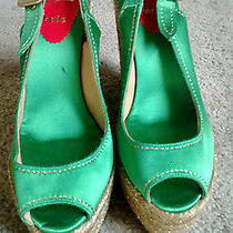 Christian Louboutin Green Satin Peep-Toe Espadrille Sandals Never Worn Size 9  Photo