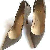 Christian Louboutin Grey Suede Pump Silver Studs  Size 37 Photo
