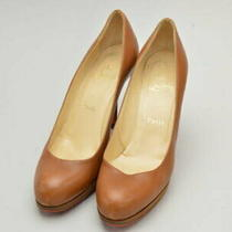 Christian Louboutin Heel Pumps 38 Sizes Brown Women 'S F-Lshoe4746 Used Photo
