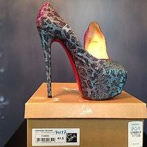 Christian Louboutin Highness 160 Lame Peeptoe Turquoise/violet 41.5 Photo