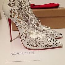Christian Louboutin Impera 120 Calf Leather Pvc Ankle Lace Tie Pump White 36 Photo