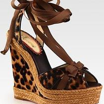 Christian Louboutin Isabelle Anniversary Leopard Pony Wedge Espadrilles Shoes 39 Photo