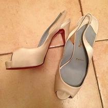 Christian Louboutin Ivory Satin Peep Toe Slingbacks 37.5 Wedding Shoes Photo