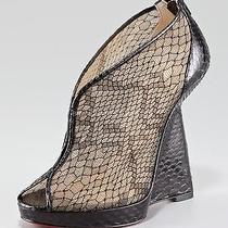 Christian Louboutin Janet Python Leather Lace Wedge Shoe Heel Boot 375 75 Nwob Photo