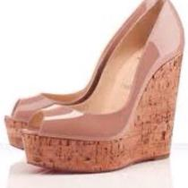 Christian Louboutin Lacquered Cork Wedges Photo