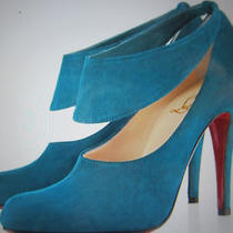 Christian Louboutin Miss Zorra Shoes Booties Aqua Blue Boot 37.5 6.5 Authentic Photo