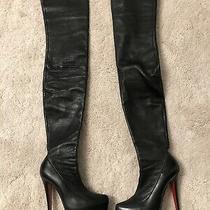 Christian Louboutin Monicarina 160 Thigh High Black Leather Boots 36 6 Rare Photo