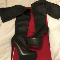 Christian Louboutin Monicarina Sz 38 Black Leather Thigh High Boots Photo