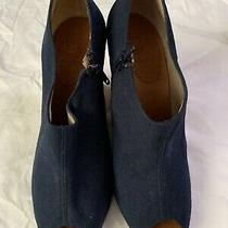 Christian Louboutin Navy Canvas Wedge Booties 39 Photo