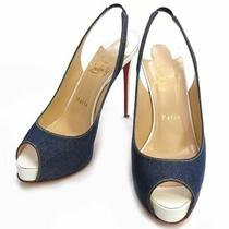Christian Louboutin Open Toe Denim Pumps High Heels Indigo Blue White Red Shoes Photo