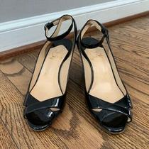 Christian Louboutin Patent Leather Peep Toe Ankle Wrap Wedge in Black - 36.5 Photo