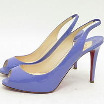 Christian Louboutin Patent Slingback Pump Lavender Size 38.5 Gently Worn Photo
