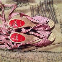 Christian Louboutin Pink Espadrilles Straw Wedges Heels Bow Photo