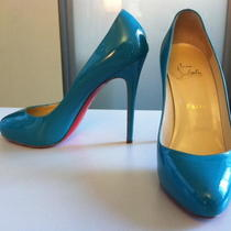 Christian Louboutin Pump Patent Leather (Turquoise Blue Size 38) Photo