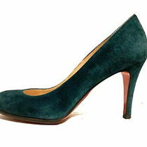 Christian Louboutin Pumps 35 1/2 Women 'S Blue Green Outsole Replaced Suede Used Photo