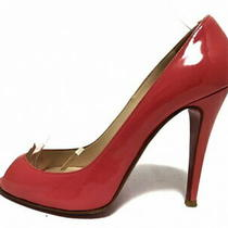 Christian Louboutin Pumps 38 Women 'S Pink Open Toe Enamel Leather Used Photo