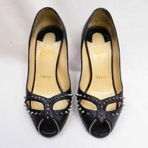 Christian Louboutin Pumps Open Toe Studs Pin Heels Black Silver U55-30 Used Photo