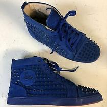 Christian Louboutin Rare Blue All Spiked Louis Shoes Sz 42 Sneakers Authentic Photo