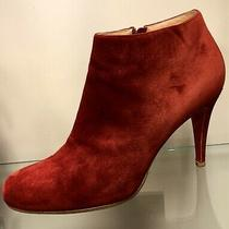 Christian Louboutin Red Suede Booties Heels Size 38 / 8 Us Ankle Boots Photo
