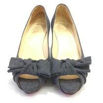 Christian Louboutin Ribbon Pumps Open Toe Shoes Sandals Gray Women 'S 35 1/2 Photo