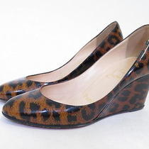 Christian Louboutin Ron Ron Leopard Print Patent Wedge Brown Size 36 Gently Worn Photo