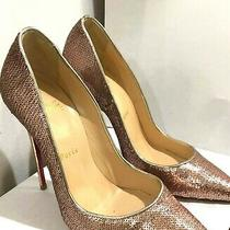 Christian Louboutin Rose Gold Sequence Pumps - Size 36 Photo