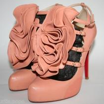 Christian Louboutin Ruffle Dillian Flower Floral Wedding Heels Blush Pink 38 7.5 Photo