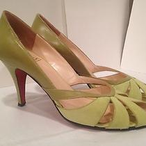 Christian Louboutin Sandals Heel Open  Toe Leather Suede Light Green Celery 37/7 Photo