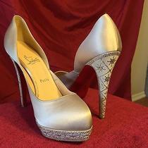 Christian Louboutin Satin Champagne 4 Inch Heel Snowflake Wedding Shoe Size 8.5 Photo