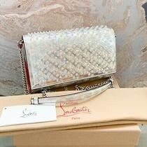 Christian Louboutin Silver Spike Holographic Leather Crossbody Clutch Bag Photo