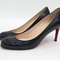 Christian Louboutin Simple Pump Black Leather Size 39 Gently Worn Photo
