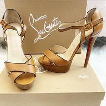 Christian Louboutin Size 37.5 Brown Beige Open Toe Heels Sporting 140 Photo