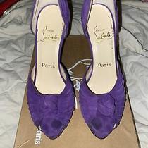 Christian Louboutin Size 37/us 7 Purple Suede Alta Nodo Peep Toe Pumps High Heel Photo