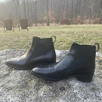 Christian Louboutin Size 38 Black Ankle Boots 1 1/4 Inch Chunky Heel Photo
