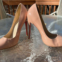 Christian Louboutin So Kate Nude Patent Pointed Toe Red Sole Heel Pumps Size 42 Photo