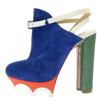 Christian Louboutin Suede Leather Strap Wave Sole Heel Women 'S Blue Used Degree Photo