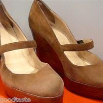 Christian Louboutin  Suede Wedge Wood Heel Shoes Photo