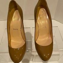 Christian Louboutin Tan Patent Leather Wedge Shoe 39.5 Photo