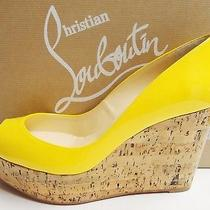 Christian Louboutin Une Plume 100 Peep Toe Cork Wedge Patent Shoes 37 Photo