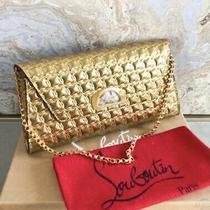 Christian Louboutin Vero Dodat Metallic Gold Embossed Clutch Photo
