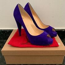 Christian Louboutin Very Conic 120mm Purple Suede Peep Toe Pumps Sz 38.5 New Photo